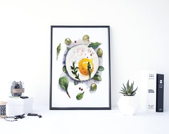Egg Print, Egg Wall Art, Breakfast Art Print, Kitchen Food Art, Egg Art, Eggs Sign, Printable Kitchen Art, Kitchen Wall Decorations
