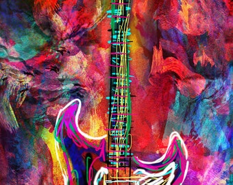 Guitar Art Print, Music art, Rock n Roll, Instrument Art