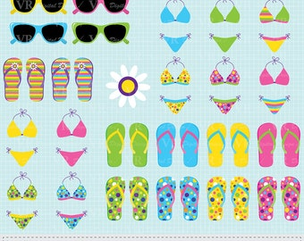 Bikini, Flip Flops, Sunglasses Clip Art, Summer Clipart, Beach Clipart, Instant Digital Download Vector Clip Art