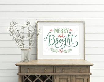 Christmas printable, Christmas Wall Art, Holiday Art Print, Merry and Bright, Christmas Prints, Christmas Sign, Christmas Decorations, Decor