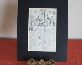 1939 Vintage french Alphabet letter J mounted print illustration matted page