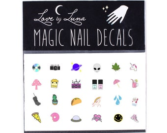 90's Nail Decal / Cute Nail Decal / Alien Nail Decal / Weed Nails / Space / Fun Nail / Kawaii / Nail Wraps / Nail Tattoo / Nail Design /