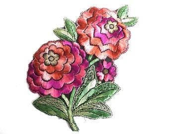 Antique Silk Flower applique, 1930s vintage embroidered applique Vintage Floral Patch Sewing supply. #6A8G43KB