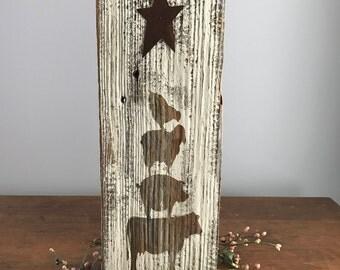 Primitive,Rustic Animal Stack Barn Wood Sign