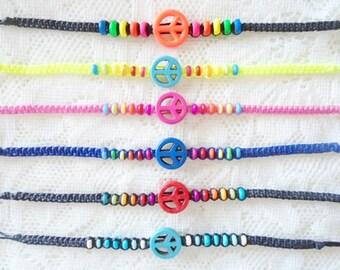 Choose your peace macrame friendship bracelet, Macrame waxed cord bracelet