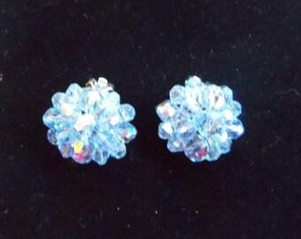 Blue Crystal Clip On Earrings - Vintage Crystal Earrings