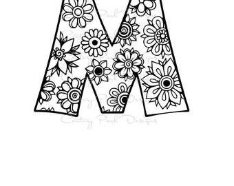 Letter M Alphabet Flowers SVG / JPEG / PNG /pdf / use with Silhouette Studio and Cricut Design Space - Commercial Use - Adult Coloring Page