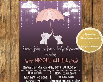 Digital file or Printed-Elephant Girl Baby Shower Invitation-Baby Girl Shower Invitation-Umbrella Elephant Invitation-Safari Baby Shower
