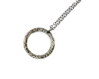 Sterling Silver Open Circle Necklace, minimalist jewelry, textured silver necklace, oxidized sterling jewelry, minimal necklace boho jewelry