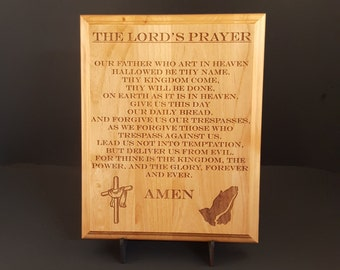 "The Lord's Prayer Engraved Wood Plaque, 9"" X 12"""