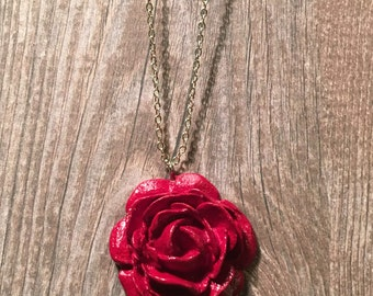 Red Flower Necklace - statement jewellery, statement pendant, botanical pendant, flower pendant, flower jewellery, floral jewellery