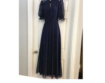 ORIGINAL 70's Vintage Navy Blue Polka Dot Prairie Party Dress, Bohemian Dress, Summer Maxi Dress, Vintage Dress, Tea party Dress.