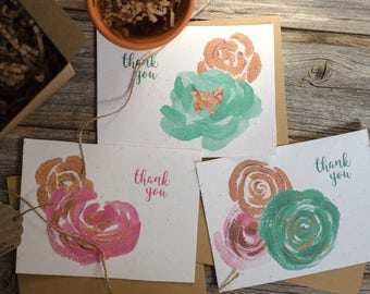 Thank You Cards | Plantable Floral - Set of 6, Cards With Envelope, Seed Paper Cards, Thank yous, Earth Day Card, Weddings, Birthdays, Gifts
