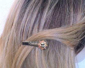 Sun Hair Clip, Alligator style hair clip with Sun, Sunshine hair clip