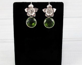 Peridot Earrings, Flower Earrings, Dainty Earrings, Drop Earrings, Stone Earrings, Gemstone Earrings, August Birthstone, Small Earrings,