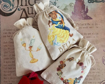 Personalized Beauty and the Beast Goodie Bag - Belle, Mrs. Potts, Chip, Cogsworth, Lumiere -Party Favor Drawstring Cotton Pouch. Custom made