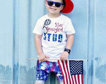 Boys Fourth of July shirts, Fourth of July Baby Boy, July 4th Baby, July 4th Children, Patriotic Outfit, American Flag, Star Spangled Stud