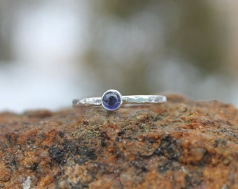 Iolite and sterling silver solitaire ring * Hammered stacking ring