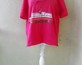 Club Uniform t-shirt pink bowling club shirt cotton Game Club 432 uniform shirt printed vintage 1980s size XL RARE