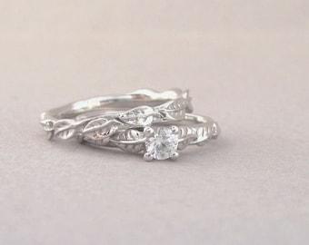 Bridel engagement set, Moissanite leaf wedding set, White sapphire engagement set, Gold and diamond engagement ring, Moissanite bridal set