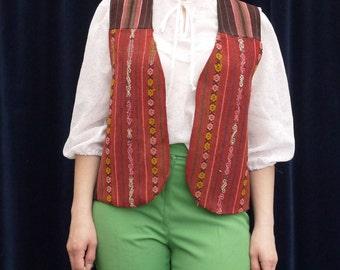 1970's vest 70's Vintage vest woven striped kilim vest boho hippie festival men vest wool cotton vest medium large size
