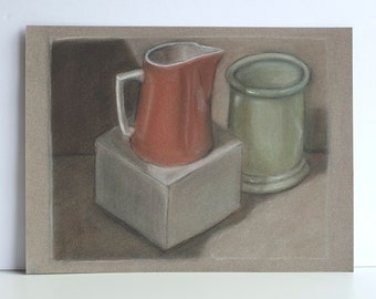 Jug and Urn / original pastel drawing