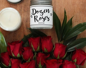 Dozen Red Roses Scented Candle - 8 oz | Candle Gift | Unique Scented Candle | Rose Scented Soy Candle | Soy Candle | Personalized Candle