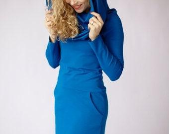 Ocean blue dress long sleeve dress with pockets, cowl neck dress, blue casual dress spring dress hooded dresses blue dress blue midi dresses