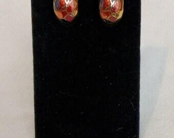 Cloisonné Flower Clip On Earrings