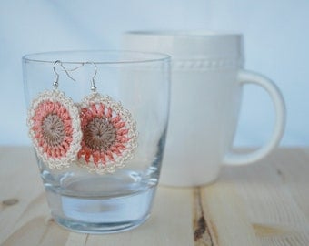 Crochet Earrings, Crochet Jewelry, Gorgeous Lacey Cream, Brown, and Pink Dangle Earrings, Gift for Her, Morhers Day Gift