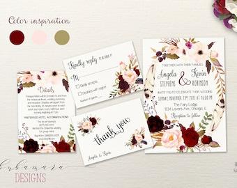 Marsala Wreath Wedding Invitation Suite Pink Burgundy Floral Autumn Wedding Invite Set Feathers Boho Spring Summer Digital Invite - WS025