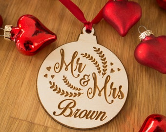 Mr and Mrs Ornament - Wife Gift - Personalized Christmas Ornament - Rustic Ornament - Laser Engraved - Personalized Gift for Husband