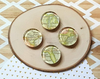 4 USA Map Glass Magnets / 1 inch, Fridge, Vintage, Green Magnets / Michigan, Maine, Texas, Florida / Gift under 5, Geography, United States