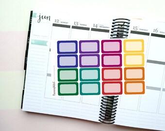 16 Dark/Jewel Toned Half Boxes Themed Planner Stickers for Erin Condren, Kikki K, Filofax, Happy Planner, Websters Pages