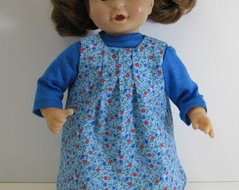 "11"" to 13"" Baby Doll Blue Shirt, Jumper, and Blue Knitted Booties"