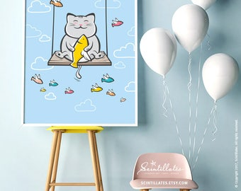 Cat on Swing Illustration – Printable Art/Decor, Children Illustration, Cute Illustration, Nursery Decor, Wall Art, Instant Download