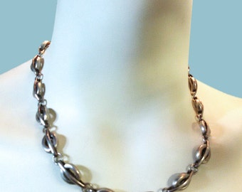 Heavy Vintage TAXCO Mexican sterling silver necklace with round links & Signed Mexico TP-70 925