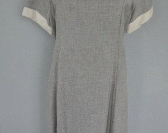 Vintage 60s grey dress with trim Medium M Large L