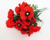 "15 Artificial Flowers Silk Poppy Branches Windflower Bouquet Anemone Bush Red Green Black 22.8"" Tall Floral Accessory Faux Fabric"