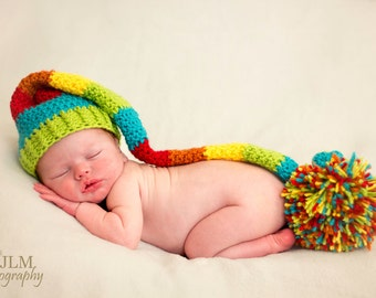 Long Tail Hat, Rainbow Newborn Long Tail, Rainbow Hat, Newborn Elf Hat, Rainbow Baby, Rainbow Baby Hat, Baby Rainbow Hat, Newborn Photo Prop