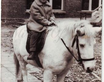 Vintage Photo - Little horse riding - Boy photo - Little boy and horse - Vintage Snapshot - Polish Photo - Horse photo - White horse
