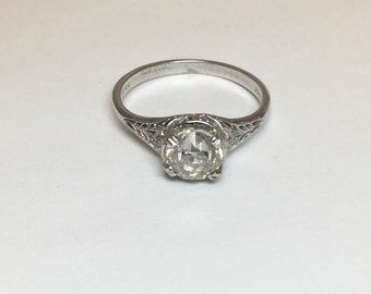Vintage 14K White Gold Filigree Art Deco Style Engagement Ring 1.63 carats