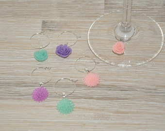 Brands-glasses/Wine charms - set of 6 - acqua, pink, violet-party, home decoration