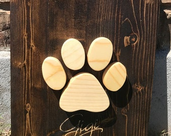 Wooden Paw Print Plaque
