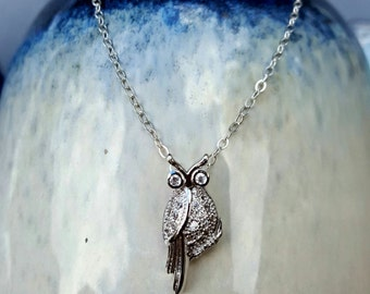 Owl Necklace, Cubic Zirconia Owl Necklace, Sterling Silver Owl Necklace, Owl Pendant Necklace, Owl Charm Necklace, Minimalist Necklace