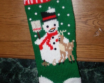 """Knitted Christmas Stocking Pattern - """"Frosty"""""""