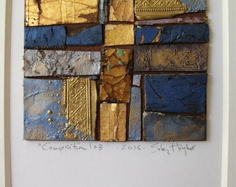 """Original Abstract Collage Art Mixed Media Zen Rustic Architectural """"Composition 103"""""""
