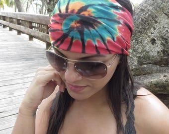 Tie Dye Headband, Running Headband, Red Wide Headband, Yoga Headband, Fitness Headband, Hippie Headband, Bohemian Turban, Women Headband