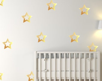 18 Large Gold Metallic Stars Nursery Wall Decals/Home Wall Stickers, Childrens Bedroom/Baby Decor, Vinyl, Wallpaper Art Decor