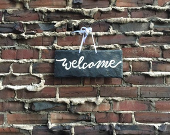 Hand-painted Welcome sign on Reclaimed Slate Tile